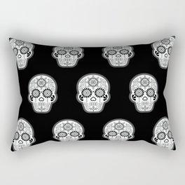 Día de Muertos Calavera • Mexican Sugar Skull – White on Black Palette Rectangular Pillow