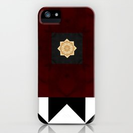 Ruby Red Marble w/ Blk & White Geometrica Pattern Insert iPhone Case
