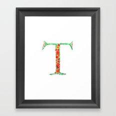 Floral Monogram Letter T Framed Art Print