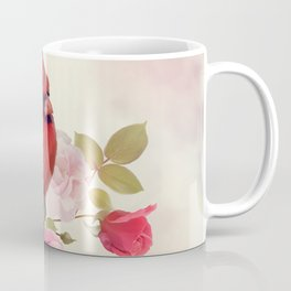Male Northern Cardinal in the rose garden Coffee Mug