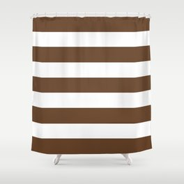 Van Dyke brown - solid color - white stripes pattern Shower Curtain