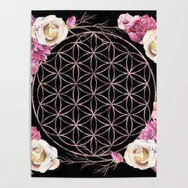 Flower of Life Rose Gold Garden on Black Poster