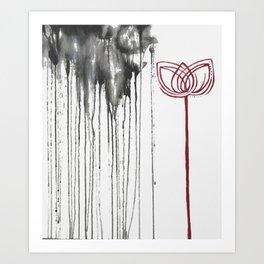 Red Stormy Lotus Art Print