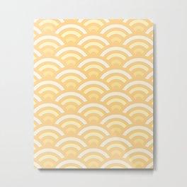 Sunny Yellow Gradient Seigaiha Metal Print
