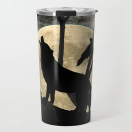 Howling Wolf Crow Moon Animal Black Bird Silhouette Art A388 Travel Mug
