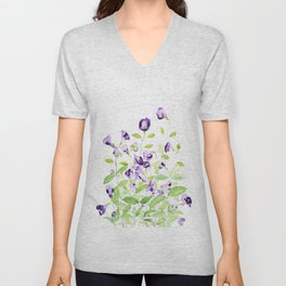purple wishbone flowers watercolor painting Unisex V-Neck