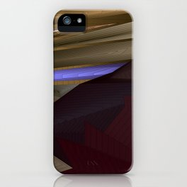 Strange psychedelic landscap with stylised mountains, sea and violet Sun. iPhone Case