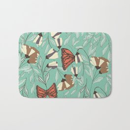 Beautiful Vintage Butterfly And Flower Pattern Bath Mat