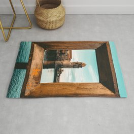 Picture Perfect | Teal and Orange Collioure France Medieval Church Tower Scenic View Marina Rug