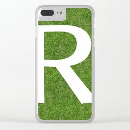 R initial letter alphabet on the grass Clear iPhone Case