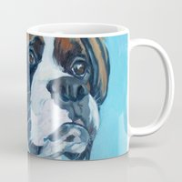 nori Mugs featuring Nori the Therapy Boxer by Barking Dog Creations Studio