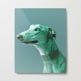 Green Greyhound. Pop Art portrait. Metal Print