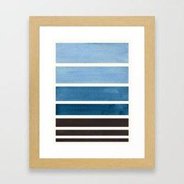 Green Blue Minimalist Watercolor Mid Century Staggered Stripes Rothko Color Block Geometric Art Framed Art Print