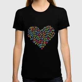 Binary Heart Colorful T-shirt