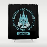 cartoons Shower Curtains featuring Bad Boy Club: Snow Monsters, Wizards Only by Josh Ln
