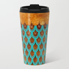 Copper Metal Foil and Aqua Mermaid Scales - Beautiful Abstract glitter pattern Metal Travel Mug