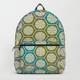 Hexagonal Dreams - Green, Grey, Turquoise Backpack