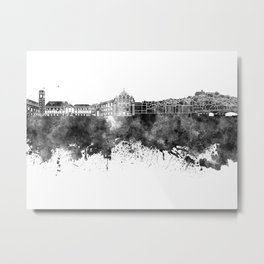 Coimbra skyline in black watercolor on white background Metal Print