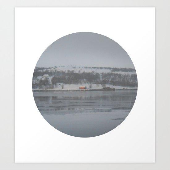 Telescope 6 cabin across the water Art Print