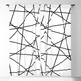 Geometric Lines (black/white) Blackout Curtain
