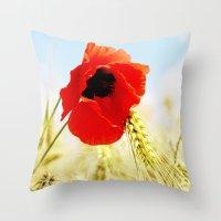 poppy Throw Pillows featuring Poppy by Falko Follert Art-FF77