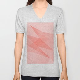 Pantone Living Coral Color of the Year 2019 on Abstract Geometric Shape Pattern Unisex V-Neck