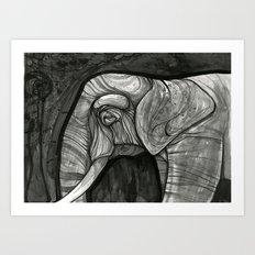 night elephant  Art Print