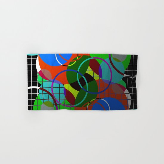 Caged Geometry - Abstract, metallic, geometric, rainbow coloured circles Hand & Bath Towel