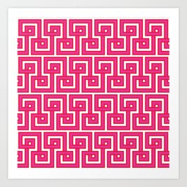 Greek Key - Pink Art Print