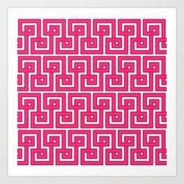 Greek Key - Pink Art Print