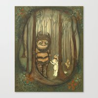 wild things Canvas Prints featuring Wild Things  by thepoppytree