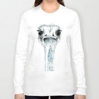 percy jackson Long Sleeve T-shirts featuring Percy the Ostrich by Bridget Davidson