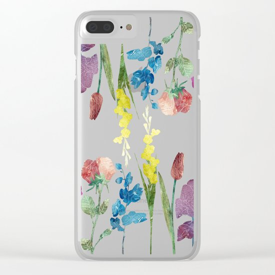 Color Flowers Clear iPhone Case