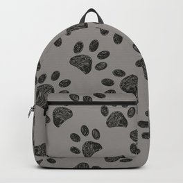 Doodle black paw print with grey background Backpack