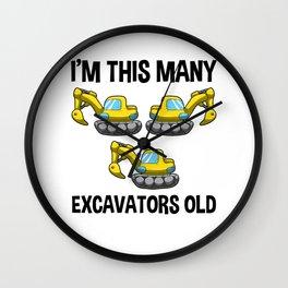 I'm This Many Excavators Old 3 Birthday Gift Wall Clock