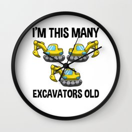 I'm This Many Excavators Old 3 Birthday Gift Wall Clock
