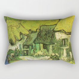 Thatched Cottages in Jorgus, Vincent Van Gogh  Rectangular Pillow