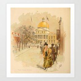 Graham, Charles (1852-1911) - Boston Rubber Shoe Catalogue 1896 - State House Boston Art Print