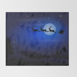 Santa's sleigh ride Throw Blanket