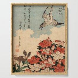 Hokusai Cuckoo and azaleas -hokusai,manga,japan,Katsushika,cuckoo,azaleas,Rhododendron Serving Tray