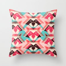 Raccoons and hearts Throw Pillow