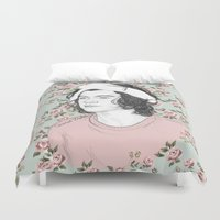 coconutwishes Duvet Covers featuring H circle floral  by Coconut Wishes