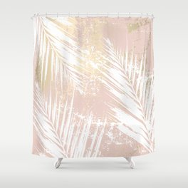 Gold Blush Palm Leaves Shower Curtain