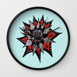 Spiked Abstract Flower In Red And Black Wall Clock
