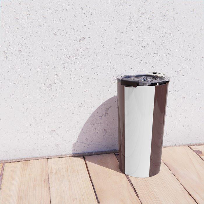Wide Vertical Stripes - White and Dark Sienna Brown Travel Mug