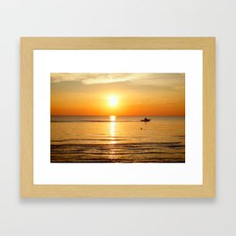 Yellow Sunset Ocean Framed Art Print