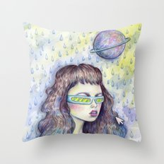 Green Girl Throw Pillow