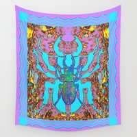insects Wall Tapestries featuring Blue & Lavender Scarab Beetle Insects Nature Art Designs by SharlesArt