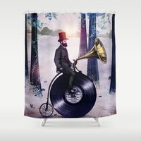 eric fan Shower Curtains featuring Music man in the woods by Eric Fan & Viviana González by Viviana Gonzalez