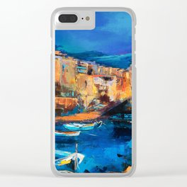 Night Colors Over Riomaggiore - Cinque Terre Clear iPhone Case